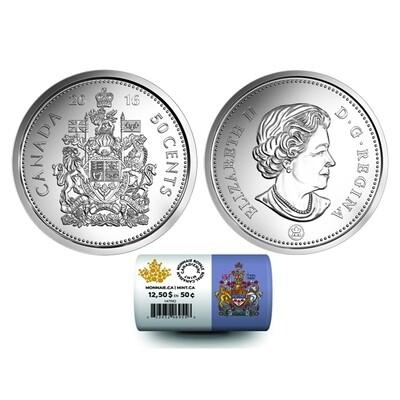 Канада. Елизавета II. 2016. 50 центов - ролл из 25 монет. Fe-Ni 6.90 g. UNC. Mintage: 800,000
