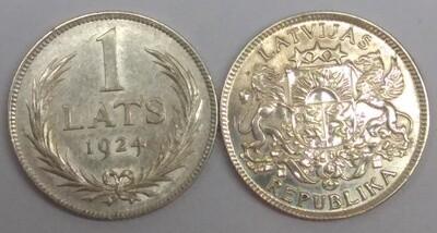 Республика Латвия. 1924. 1 лат. Тип: 1924. 835 Серебро 0.1342 Oz, ASW., 5.00 g. KM#7. XF
