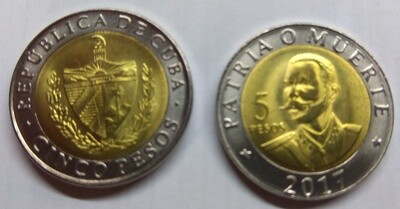 Cuba. 2017. 5 pesos. 120th Anniversary - Death of Antonio Maceo. Type: 2016. Bi-Metallic (Ni-Steel + Brass - Steel) 4.520 g. UC#112. UNC