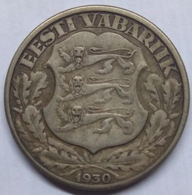 Республика Эстония. 1930. 2 кроны. 500 Серебро 0.1929 Oz. 12.0 g. KM#20. VF