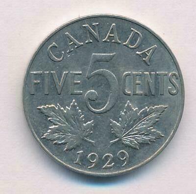 Канада. Георг V. 1929. 5 центов. Ni. 4.540 g. VF ***