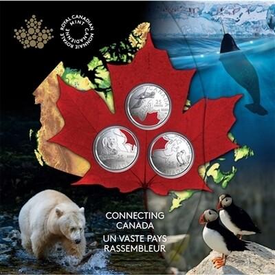 Канада. Елизавета II. 2020. 25 центов. Набор из трёх монет. Серия: Объединённая Канада. KM# UNC. В подарочной упаковке.