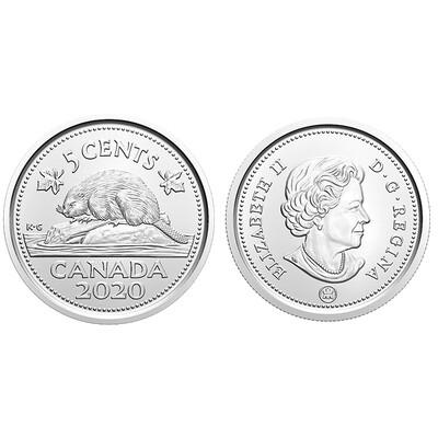 Канада. Елизавета II. 2020. 5 центов - ролл из 40 монет. Бобр. Логотип RCM. Никель 4.54 g. UNC