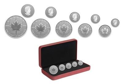 Канада. Елизавета II. 2021. Набор из 5 монет. $5, $4, $3, $2, $1. Серия: Символы Канады. #10. 25 лет эмблеме Канады. 0.9999 Серебро 1.932 Oz., ASW., 60.08 g. PROOF. Mintage: 3,000