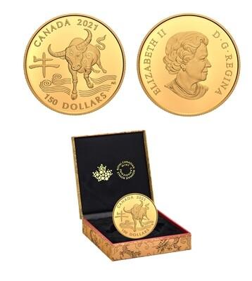 Канада. Елизавета II. 2021. 150 долларов. Серия: Китайские знаки зодиака. #12. Год быка. 0.750 Золото 0.2857 Oz., AGW., 11.845 g. PROOF. Mintage: 1,500