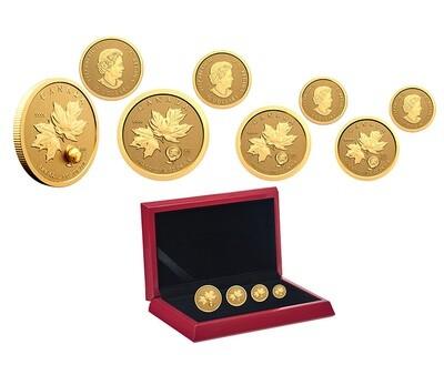 Канада. Елизавета II. 2021. Набор из 4 золотых монет. $50, $10, $5, $1. Серия: 1896-2021. 125 лет Золотой лихорадке на Клондайке. 0.9999 Золото 1.4045 Oz., AGW 43.68 g., KM# PROOF. Mintage: 500