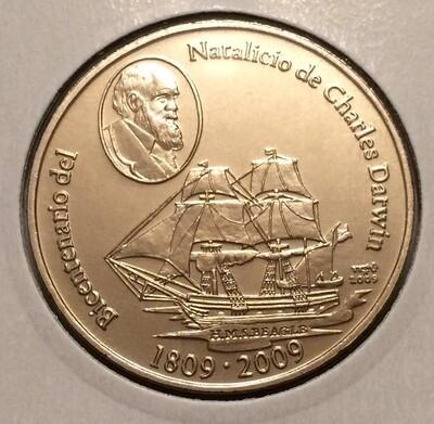 Cuba. 2009. 1 peso. Series: 1809-2009. 200 years since Charles Darwin was born. Copper - Nickel. KM#. BU. UNC