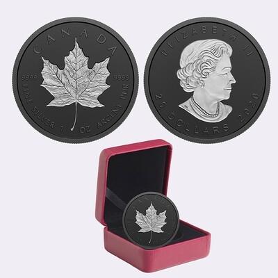 Канада. Елизавета II. 2020. 20 долларов. Кленовый лист. С родиевым покрытием (GML). 0.9999 Серебро 1.0 Oz., ASW., 31.39 g., UNC. Mintage: 5,000