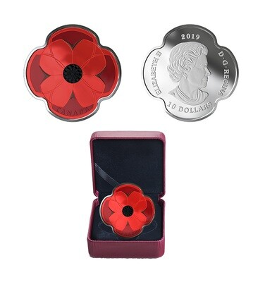 Канада. Елизавета II. 2019. 10 долларов. День памяти. Монета в форме мака. 0.9999 Серебро 0.510 Oz., ASW., 15.87 g., PROOF/Colored. Mintage: 10,000