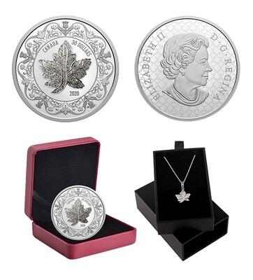 Канада. Елизавета II. 2020. 30 долларов. Кленовый лист с подвеской. 0.9999 Серебро 2.018 Oz., ASW., 62.69 g., PROOF. Mintage: 3,000