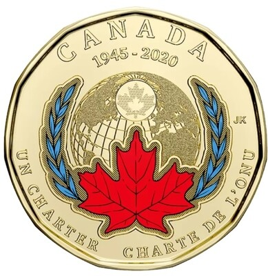 Канада. Елизавета II. 2020. 1 доллар. 1945-2020. 75 лет со дня подписания хартии ООН. Цветные. Ni-Cu. 7.00 g., KM#. UNC/Colored.