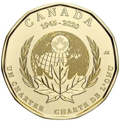 Канада. Елизавета II. 2020. 1 доллар. 1945-2020. 75 лет со дня подписания хартии ООН. Ni-Cu. 7.00 g., KM#. UNC.
