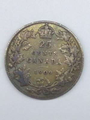 Канада. Эдвард VII. 1909. 25 центов. Карибу. Тип: 1902. 0.925 Серебро 0.1725 Oz. ASW., 5.81 g., KM#. VF. Note: Obv.: шт.1. Rev.:шт.А
