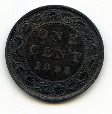 Канада. Виктория. 1898. 1 цент. H. Cu. 5.67 g. VF+. Note: Соосность 0° Obv.: шт.1. Rev.:шт.A