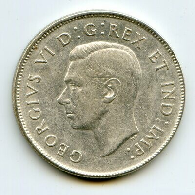 Канада. Георг VI. 1944. 50 центов. 0.800 Серебро. 0.300 Oz., ASW., 11.6638 g. XF. Note: Obv.: шт.1. Rev.: A.