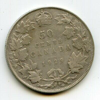Канада. Георг V. 1929. 50 центов. 0.800 Серебро. 0.300 Oz., ASW., 11.6638 g. VF. Note: Rev.: шт.1. Obv.: шт.A. Mintage: 228,328