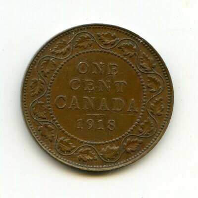 Канада. Георг V. 1918. 1 цент. Cu. 5.67 g. XF. KM#. Note: Соосность 0° Obv.: шт.1. Rev.:шт.A