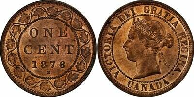Канада. Виктория. 1876. 1 цент. H. Cu. 5.67 g. AU. KM#. Note: Соосность 0° Obv.: шт.1a - Двойные