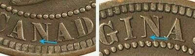 Канада. Виктория. 1881. 1 цент. H. Cu. 5.67 g. AU. KM#. Note: Соосность 0° Obv.: шт.1d. - нет части серифа в букве