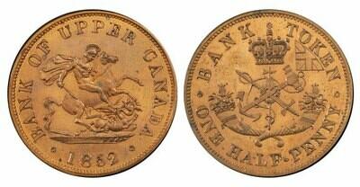 Канада. Токен Банка Верхней Канады. 1852. Один полпенни. RM. Cu. 8.00 g. AU. Note: Соосность 180°. Obv.: шт.1. Rev.: шт.A.