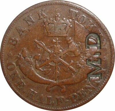 Канада. Токен Банка Верхней Канады. 1852. Один полпенни. RM. Cu. 8.00 g. AU. Note: Соосность 0°. Obv.: шт.1. Rev.: шт.B. - надчекан