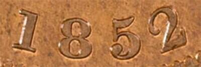 Канада. Токен Банка Верхней Канады. 1852. Один пенни. RM. Cu. 15.5 g. AU. Note: Соосность 0°. Obv.: шт.1.1. - Цифра