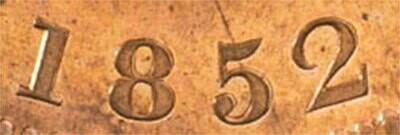 Канада. Токен Банка Верхней Канады. 1852. Один пенни. RM. Cu. 15.5 g. AU. Note: Соосность 0°. Obv.: шт.1.4. - Двойная дата. Rev.: шт.A. Mintage: 750,000