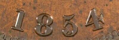 Канада. Токен Банка Верхней Канады. 1854. Один пенни. HM. Cu. 16.0 g. AU. Note: Соосность 180°. Obv.: шт.1.1. - Цифра
