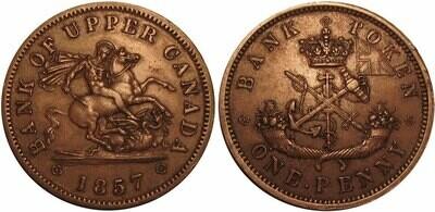 Канада. Токен Банка Верхней Канады. 1857. Один пенни. HM. Cu. 16.0 g. AU. Note: Соосность 180°. Obv.: шт.1. Rev.: шт.A.