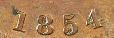Канада. Токен Банка Верхней Канады. 1854. Один пенни. HM. Cu. 16.0 g. AU. Note: Соосность 180°. Obv.: шт.1. - Цифра