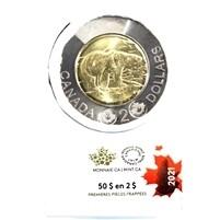 Канада. Елизавета II. 2021. 2 доллара - ролл из 25 монет. Белый медведь. Ni, Cu, Al. 7.30 g. UNC. (СПЕЦИАЛЬНАЯ УПАКОВКА).
