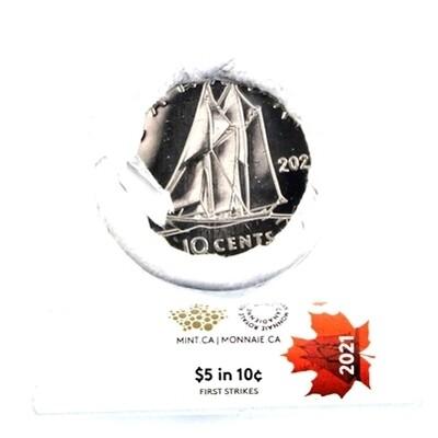 Канада. Елизавета II. 2021. 10 центов - ролл из 50 монет. Серия: Специальный чекан - первая партия. Парусник. Тип: 1979. Никель 2.07 g. UNC