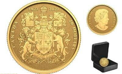Канада. Елизавета II. 2021. 20 долларов. Серия: 100 лет гербу Канады. 0.999 Золото 0.101 Oz., AGW., 3.14 g., KM# PROOF. Mintage: 3,000