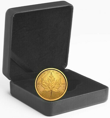 Канада. Елизавета II. 2021. 50 долларов. Золотой кленовый лист. Тайный знак