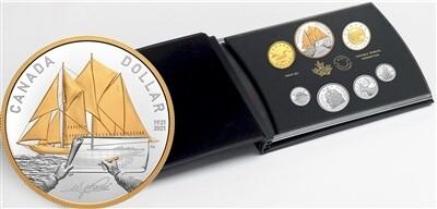 Канада. Елизавета II. 2021. Набор монет из серебра. 100 лет паруснику Блюноз. 999 Серебро 2.03087 Oz.  63.16 g., PROOF. Mintage 20,000