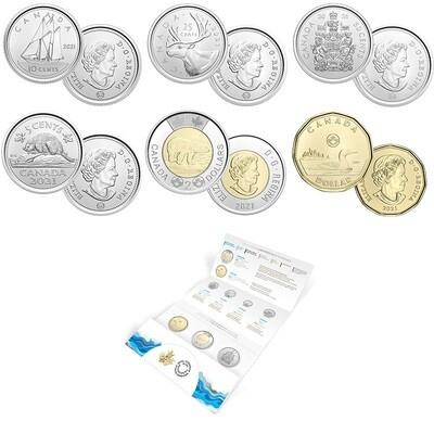 Канада. Елизавета II. 2021. Набор монет. Серия: Годовой набор. #87 - Классик. Ni, Fe. KM#. Proof-like. Mintage: 75,000