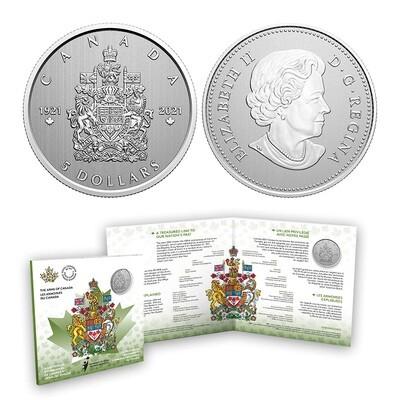 Канада. Елизавета II. 2021. 5 долларов. Серия: 100 лет гербу Канады. #01. 0.9999 Серебро 0.2559 Oz., ASW., 7.96 g. UNC