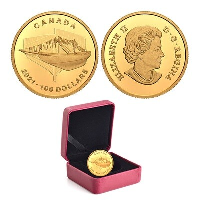 Канада. Елизавета II. 2021. 100 долларов. 100 лет паруснику Блюноз. 999.9 Золото 0.2501 Oz., AGW., 7.80 g., PROOF. Mintage: 2,000
