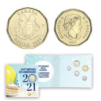 Канада. Елизавета II. 2021. 25 центов. Набор монет. Серия: Подарок на День Рождения! #17. KM# UNC. В подарочной упаковке.