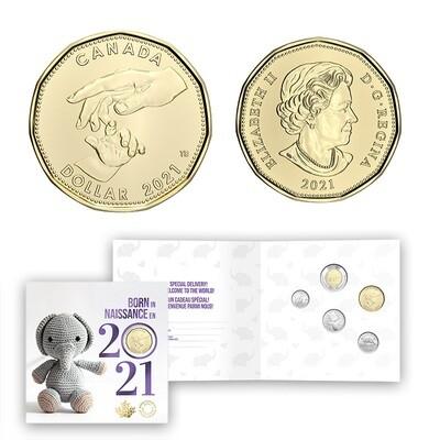 Канада. Елизавета II. 2021. 1 доллар. Набор монет. Серия: Детский набор. #27. KM# UNC. В подарочной упаковке.