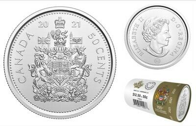 Канада. Елизавета II. 2021. 50 центов. Fe-Ni 6.90 g. UNC. Mintage: 375,000
