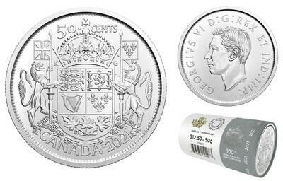 Канада. Георг VI. 2021. 50 центов. Серия: 1921-2021. 100 лет гербу Канады. Fe-Ni 6.90 g. UNC. Mintage: 250,000