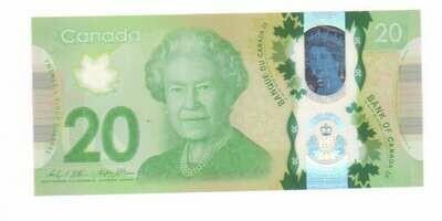 Канада. Елизавета II. Бумажные деньги. 20 долларов. Тип: 2015 - пластик. Серия/№:  FWS9362848. Примечание: . Catalog #. AU -