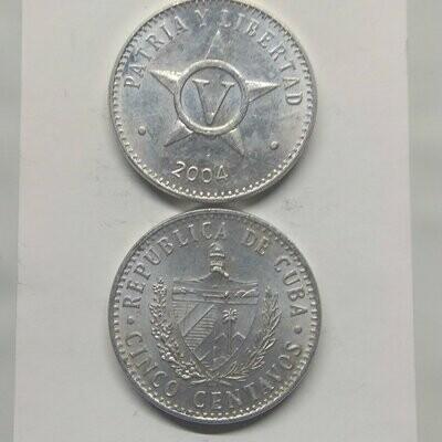 Cuba. 2004. 5 centavos CUP. Star. Type: 1915. Aluminium. 1.500 g., KM#34. XF