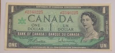 Канада. Елизавета II. Бумажные деньги. 1967. 1 доллар. Серия: 1867-1967. 100 лет Конфедерации Канады. Тип: 1967. Серия/№:  JP2340225. Примечание: . Catalog #. XF -