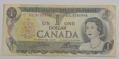 Канада. Елизавета II. Бумажные деньги. 1973. 1 доллар. Тип: 1969. Серия/№:  BAL8785998. Примечание: . Catalog #. VF+