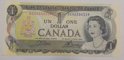 Канада. Елизавета II. Бумажные деньги. 1973. 1 доллар. Тип: 1969. Серия/№:  BCH6356229. Примечание: . Catalog #. UNC