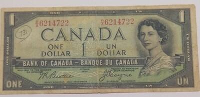 Канада. Елизавета II. Бумажные деньги. 1954. 1 доллар. Тип: 1954 - с лицом дьявола. Серия/№:  R/A6214722. Примечание: Beattie-Coyne. Catalog #. VF-
