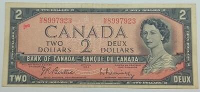 Канада. Елизавета II. Бумажные деньги. 1954. 2 доллара. Тип: 1954 - без лица дьявола. Серия/№:  N/R8997923. Примечание: Beattie-Rasminsky. Catalog #. VF