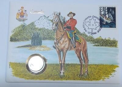 Канада. Елизавета II. 1958. 25 центов. Карибу. Тип: 1953. 0.800 Серебро, 0.149 Oz. ASW., 5.830 g., KM#52. UNC. Note: В конверте с маркой.